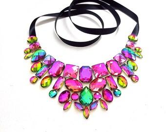 Iridescent Rhinestone Bib Necklace, Colorful Statement Necklace, Bold Chunky Statement Necklace, Chunky Bib Necklace, Iridescent Jewelry