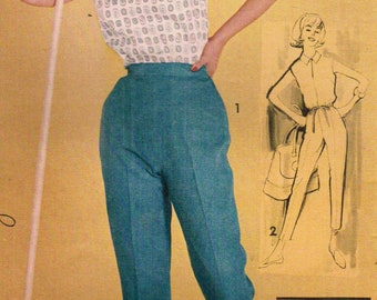 1960s Advance 9780 Vintage Sewing Pattern Misses Casual Blouse, Cropped Pants, Capris Size 14 Bust 34