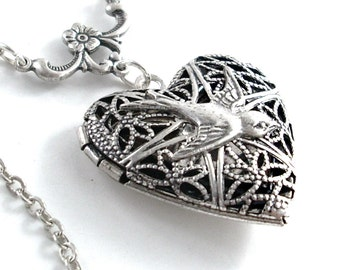 Silver Swallow Scent Locket Necklace Jewelry - Filigree Heart
