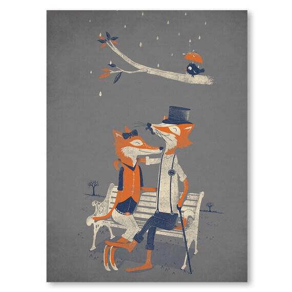Wall Art Fox Love Birds Romantic Top Hat Home Decor