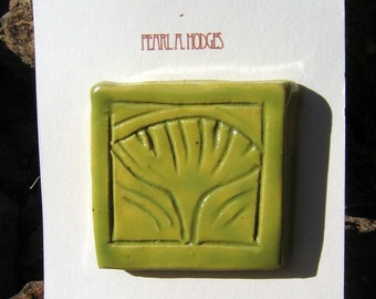 Hand Made Ceramic - Small Green Ginkgo Tile