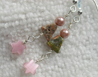 FALLING STAR Wire Wrapped Earrings With Fiber Optic Stars, Unakite Triangles & Freshwater Pearls On Sterling Silver Wires Ooak