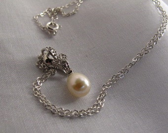 Sale,Beautiful Single Akoya Sea Pearl Pendant,Cultured Pearl Necklace,Bridesmaid Bridal Necklace One of A Kind Diamond Look Pearl Pendant 31