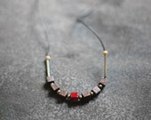 Minuscule / Wooden Boho Necklace / Red - Yellow - Brown