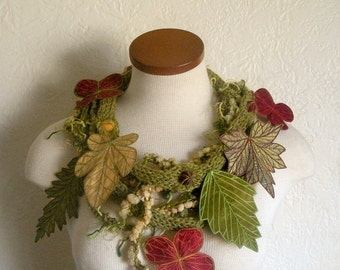 Leaf Scarf- Tweedy Avocado Green with Golden Yellow, Olive Green, and Brick Red Embroidered Leaves- Fiber Art Scarf