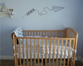 Custom Children's Name Paper Airplane vinyl wall decal lettering saying nursery