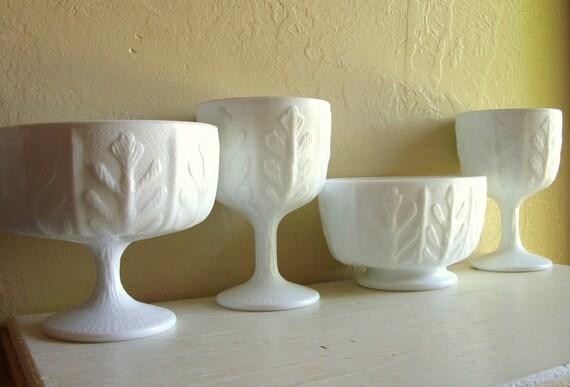 Set of Milk Glass Compotes Pedestal Bowls Beach Design Nautical