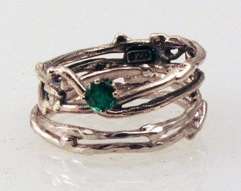 Simply Emerald Engagement Ring w/ Silver Wedding Band