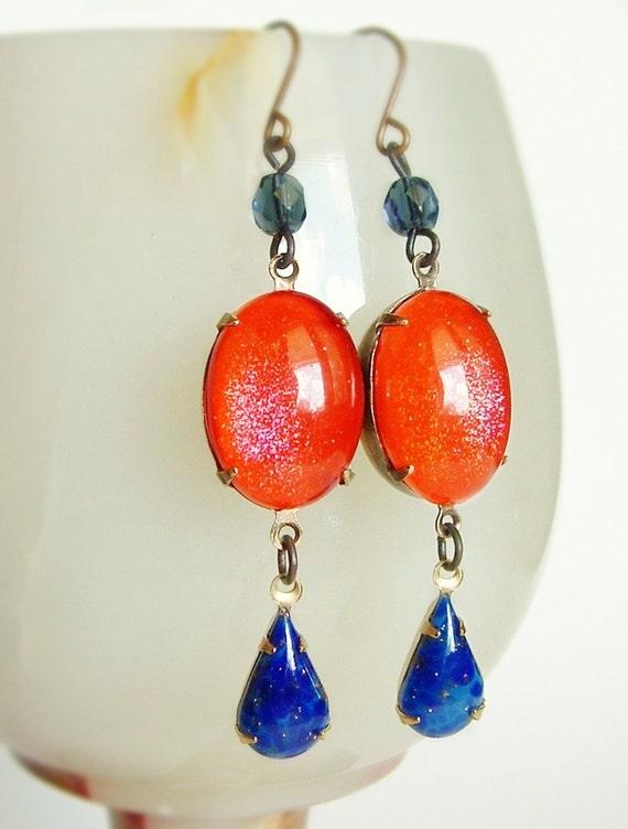 Neon Orange Earrings Vintage Domed Glass Glitter Cabochons Tangerine Lapis Blue