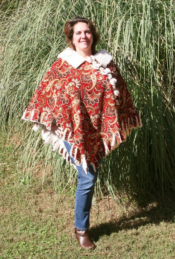 Red with Golden Paisley and Ivory Sherpa Novelty Fleece Fur Poncho