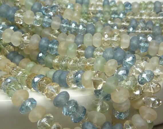 7x4mm Faceted Beach Glass Mix Firepolished Czech Glass Rondell Beads - Qty 50 (D137)