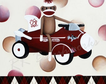 Childrens Art Print - Vintage rocket sock monkey 12x12 print - nursery wall decor red brown tan cream polka dots radio flyer