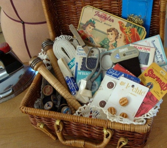 Vintage Wooden Sewing Basket and Antique Sewing Supplies Lot N023