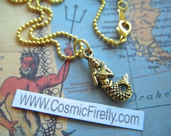Tiny Mermaid Necklace Miniature Gold Tone Metals Petite Steampunk Necklace Small Gold Mermaid Charm Necklace