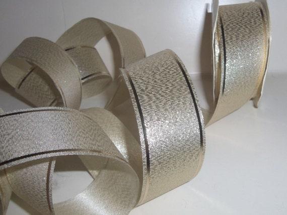 Vintage Ribbon Gold Metallic 10 yard spool  Craft Supply Gift Wrap - Bows - DIY Wedding