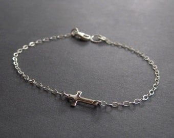 Cross Bracelet - Sterling Silver Cross Bracelet - Tiny Cross Bracelet - Minimal Bracelet