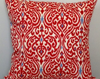 CLEARANCE SALE  Red Ikat Pillow Cover   decorative pillow cover   Red Accent Pillow   Red Throw Pillow   Ikat Pillow  Red Ivory Blue