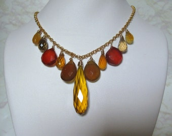 Yellow Quartz Necklace with Chalcedony, Beer Quartz, Gold Filled, Wire Wrapped