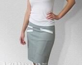 Grey Asymmetrical Skirt with Diagonal Pockets
