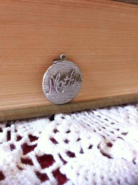 Vintage 1970s Mother Pendant Charm Sterling Silver For Necklace