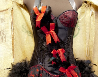 CARDINAL Black Raven feather Burlesque corset Costume Dress Red for Halloween