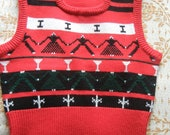 Adorable red festive knit vest Size Small