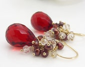 Gold and red cluster earrings, bright red quartz and garnet 14kt gold filled gemstone earrings, dark red brown and gold jewelry