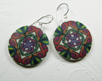 Polymer Clay Millefiori Quilt Round Disc Dangle Earrings