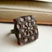 Boho Cottage Chic Ring Cocoa and Filigree Repurposed Scrabble Tile Adjustable  - Chocolate Lace