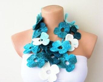 Flower Scarf Turquoise White Flower Hand Crochet Lariat Scarf