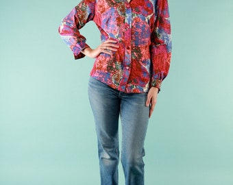 Vintage Blouse Top 70s Groovy Psychedelic - Medium Semi Sheer Giant Floral Pointed Collar