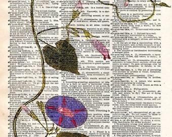 Vintage Old Book Print - Floral Art Print - Upcycled Antique Book Print - Natural History Botanical Print - Purple Green Flower Art