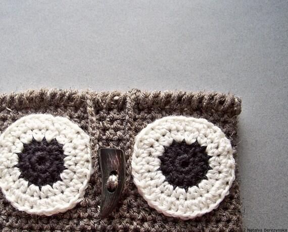 Owl Decor, Owl iPad Case,  iPad Cover, Crochet Owl Purse, iPad Sleeve, Tablet Case, Crochet Owl Bag, Rustic Owl, Owl Crochet, Owl Gifts