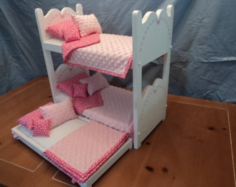 Doll Bunk bed and Trundle for your American Girl or 18 inch Dolls,  Doll bed