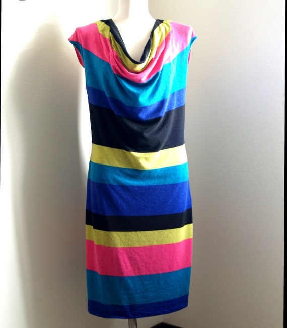 Women's size 8-10 OOAK Colorful cowl neck dress
