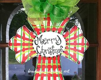 Plaid Christmas Cross Door Hanger - Bronwyn Hanahan Original