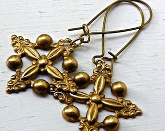 Vintage brass drops, brass dangle earrings, Filigree, heirloom quality brass earrings