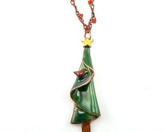 Christmas Tree with Tiny Red Bird Necklace