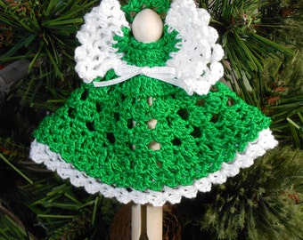 Crocheted Angel Holiday Christmas Tree Ornament - Mildred in Christmas Green - Free U.S. Shipping