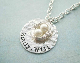Custom Sterling Silver Filled Two Egg Nest Mother's Necklace - Pearls children stamped mom mother custom engraved personalized