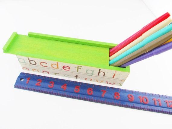 Alphabet Craft ART Box - ABC Wooden Sliding Colored Pencil Case - Craft Crayons Keepsake Box - Sewing Box