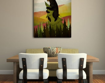 Leaf Peeper Bed and Breaskfast Autumn Bear Stretched Canvas Wall Art