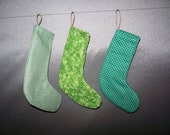 SALE! Set of 3 Stocking Ornaments in Green Fabric - Miniature Stockings Christmas Tree