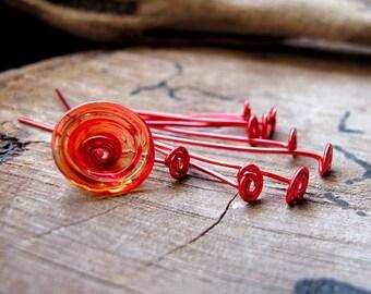 1.5 inch Headpins - Swirl Head pins 20 gauge set - Handmade Enameled Red Jewelry Findings - Artisan HeadPins - Red Eye Pins. Spiral Eyepins