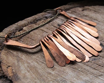 Copper Pendant - Necklace Bar Connector -  16 Hammered Paddles - Rustic Artisan Supplies - Jewelry Making / Pendant / Dangles / Charms