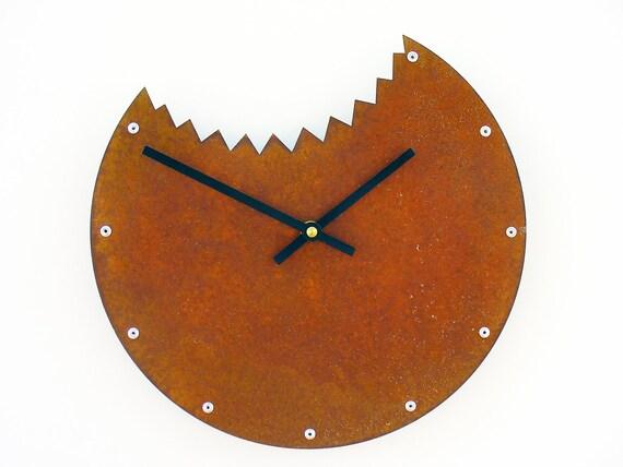 Shark Bite, Medium Wall Clock, Rusted Wall Clock, rustic wall clock, unique wall clock, modern wall clock, steampunk wall clock