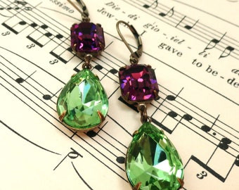 Swarovski Amethyst Peridot Earrings Double Drop Retro Rhinestone Old Hollywood Glam