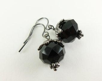 Black Beaded Earrings Dark Silver Gunmetal Glass Dangle Earrings