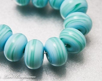 Caribbean Blue Lampwork Glass Spacer Beads, Turquoise Green, SRA