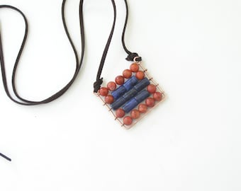 Abacus Pendant - Square pendant - boho mosaic pendant - Blue sodalite and red coral pendant